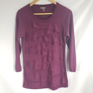 Vince Camuto Magenta Ruffle Front Sweater